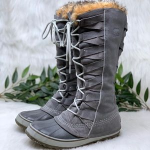 Sorel Tall Gray Suede Fur Lined Winter Boot 9